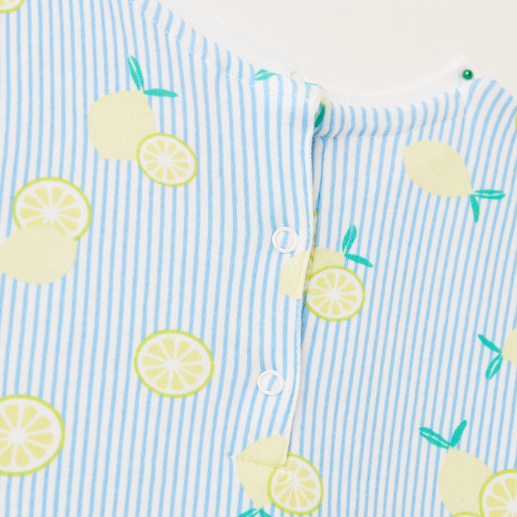 Juniors Lemon Print Dress with Round Neck and Press Button Closure