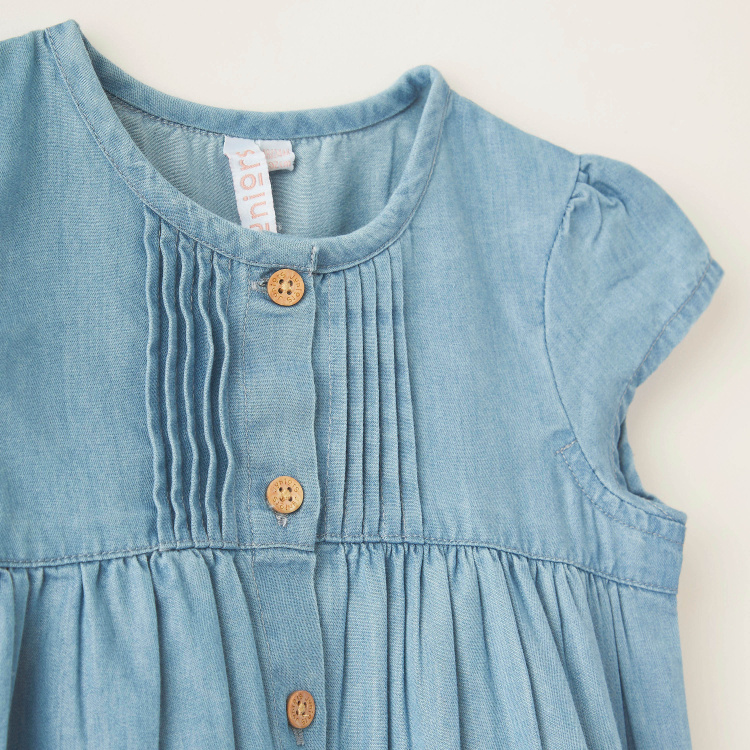Juniors Textured Denim Top with Round Neck and Cap Sleeves