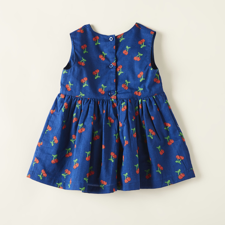 Juniors All-Over Cherry Print Sleeveless Dress with Round Neck