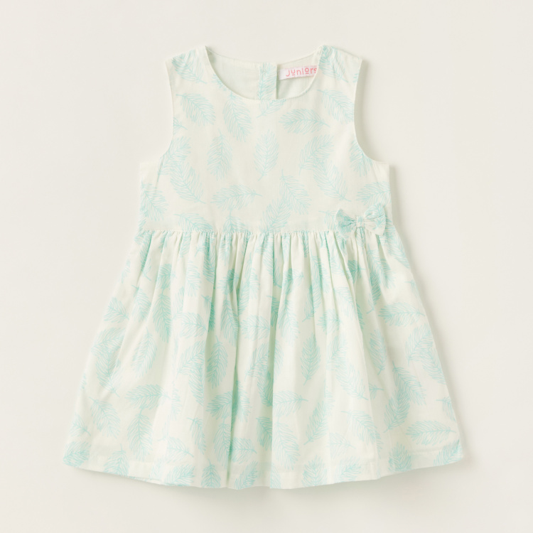 Juniors All-Over Print Sleeveless Dress with Round Neck and Bow Detail