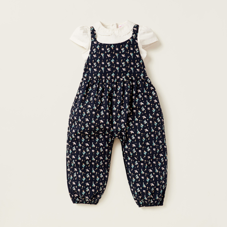 Juniors Floral Print Dungaree and Collared Top Set