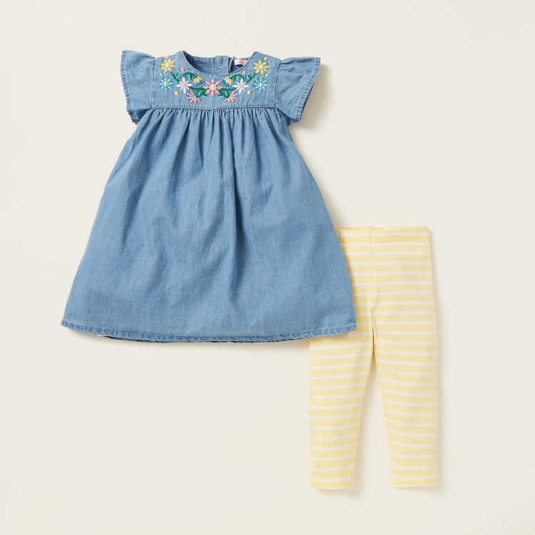 Juniors Embroidered Tunic and Striped Legging Set