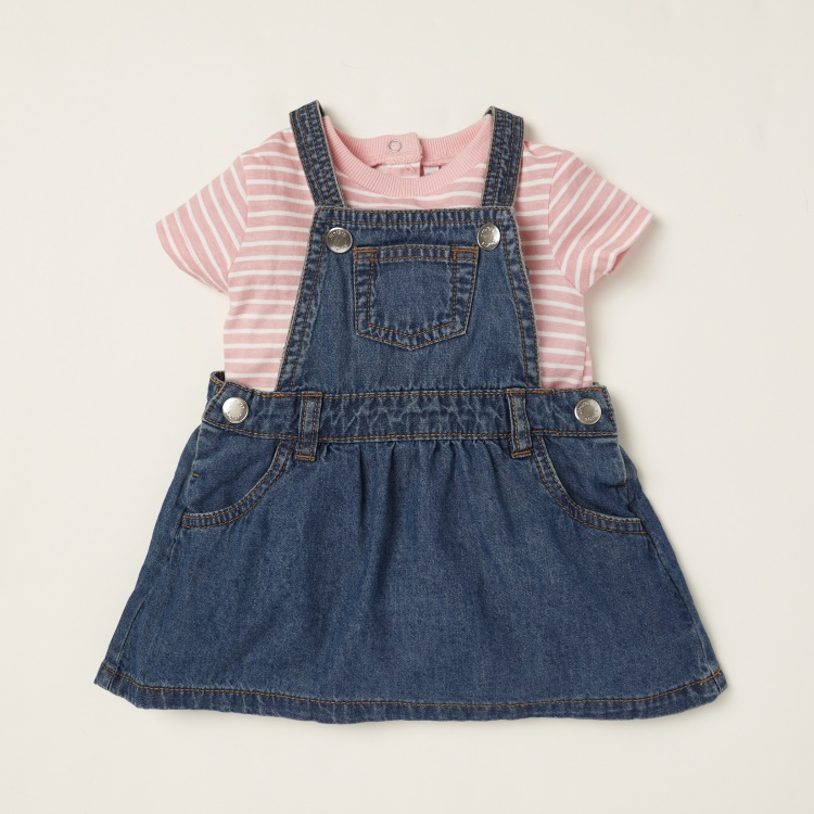Juniors Striped Short Sleeves T-shirt with Textured Pinafore Set