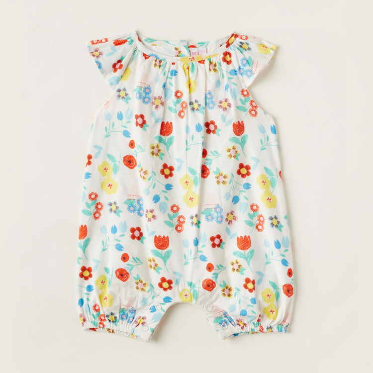 Juniors Floral Print Romper with Cap Sleeves