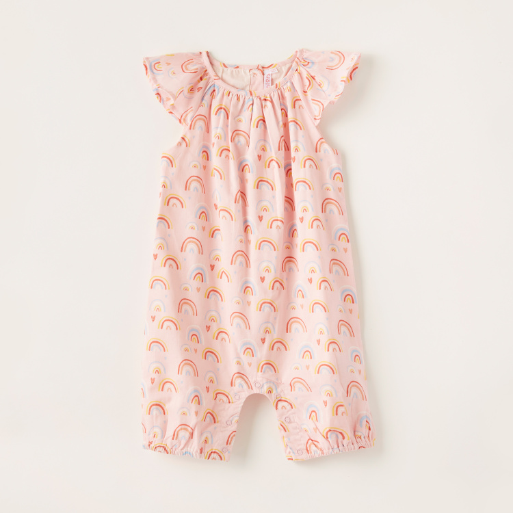 Juniors All-Over Print Romper with Round Neck and Cap Sleeves