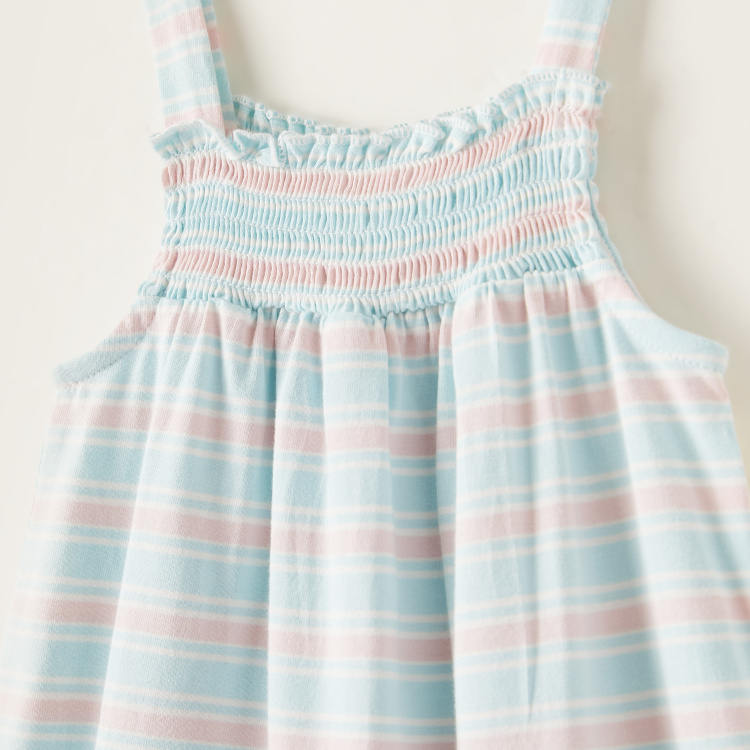 Juniors Striped Sleeveless Romper with Smocking Detail