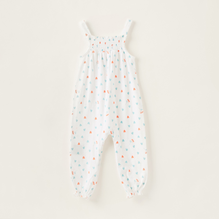 Juniors Printed Romper with Straps and Ruched Detail