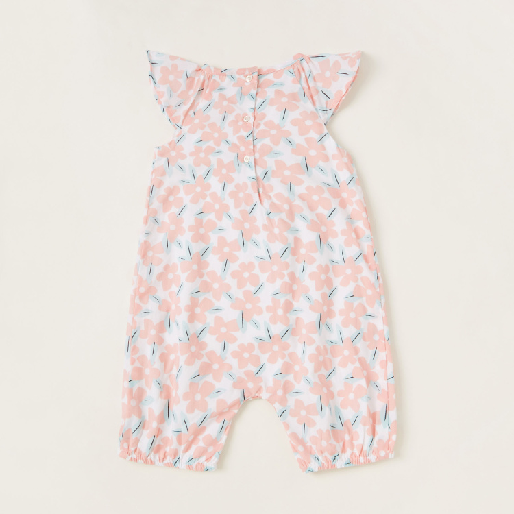Juniors Floral Print Romper with Short Sleeves
