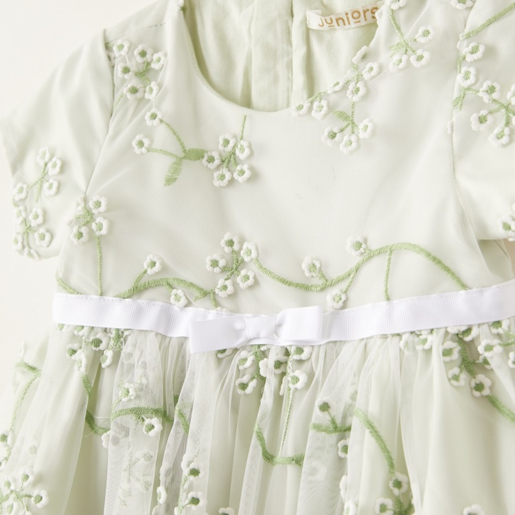 Juniors Floral Embroidered Overlay Dress with Zip Closure