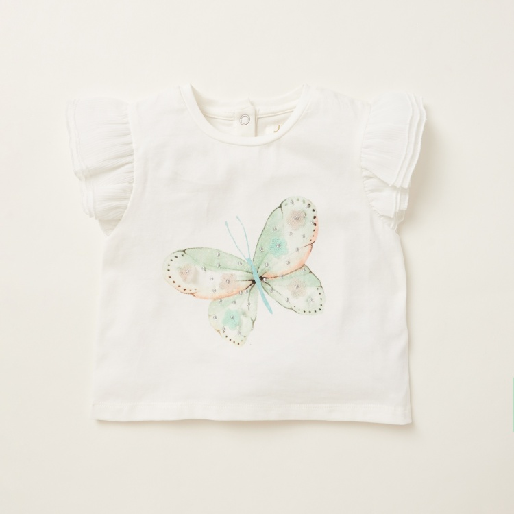 Juniors Butterfly Print T-shirt with Mesh Detail Tutu Skirt Set