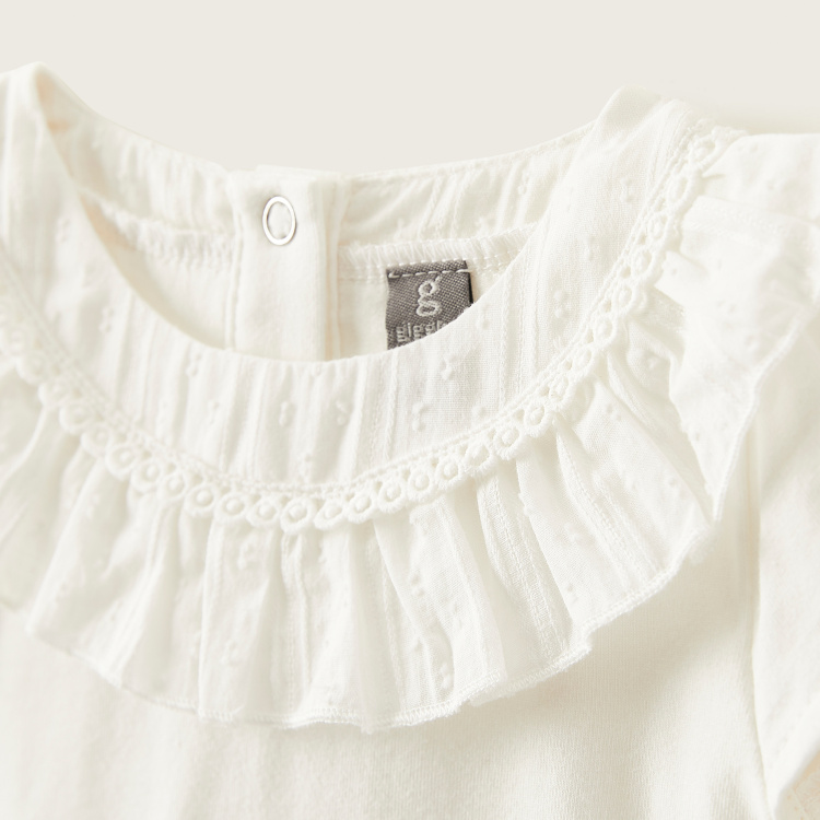 Giggles Solid Top with Cap Sleeves and Ruffle Detail