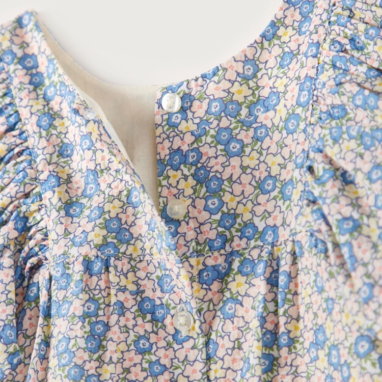 Giggles Round Neck Floral Print Blouse with Flutter Sleeves
