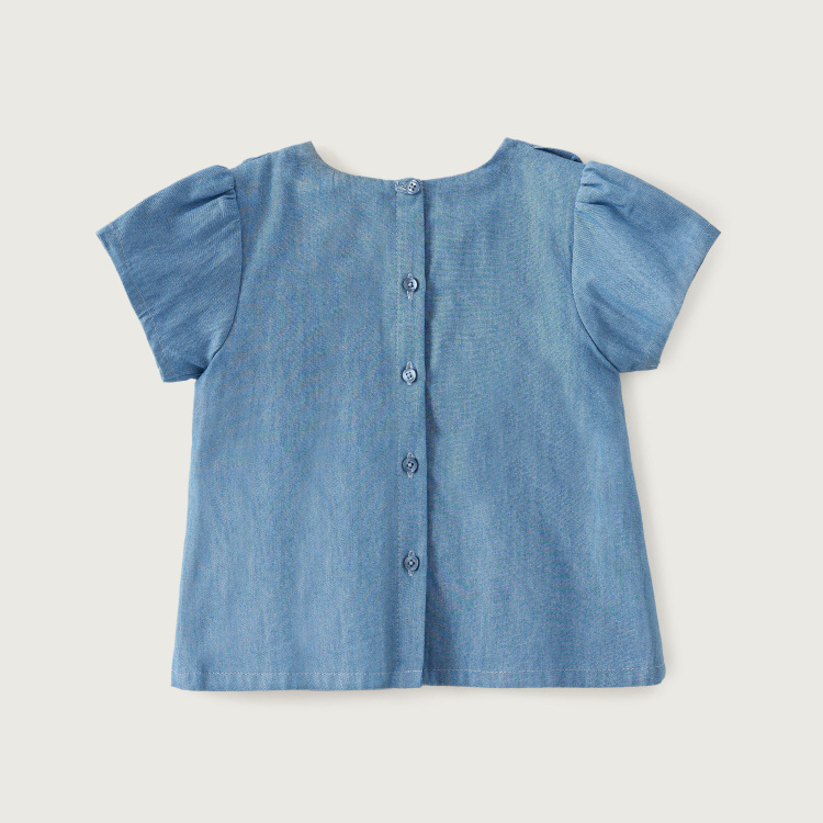 Giggles Chambray Frilled Blouse with Short Sleeves and Round Neck