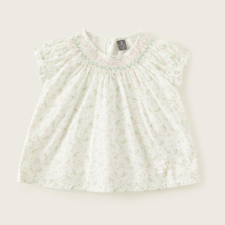Giggles All-Over Printed Round Neck Top with Smocking Detail