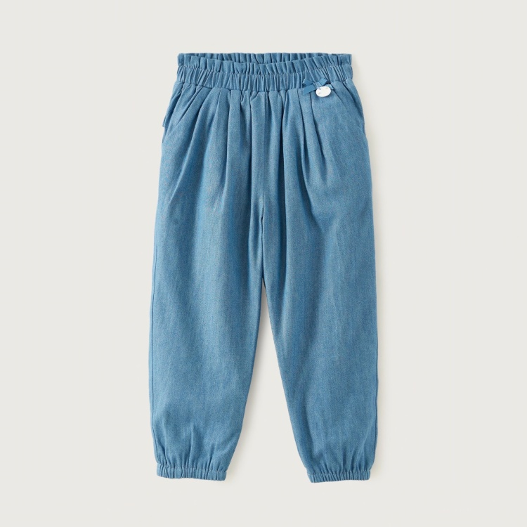 Giggles Solid Chambray Pants with Ruffle Detail