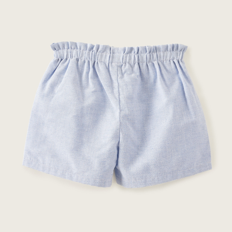 Giggles Striped Shorts with Elasticated Waistband and Bow Accent