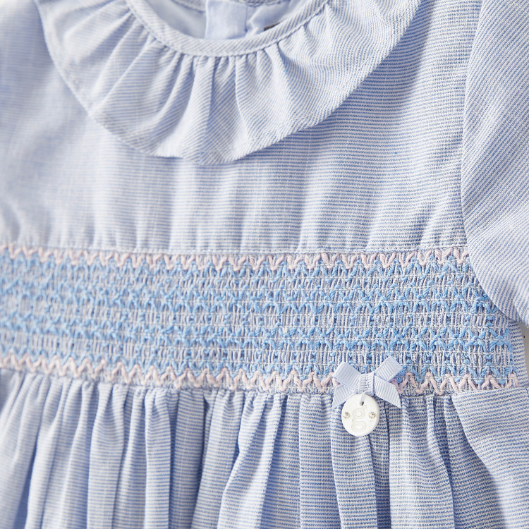 Giggles Striped Dress with Short Sleeves and Ruffle Detail