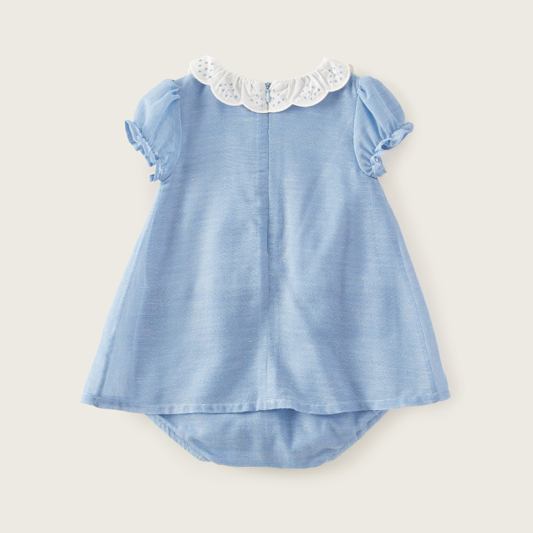 Giggles Scallop Collar Romper Dress with Short Sleeves