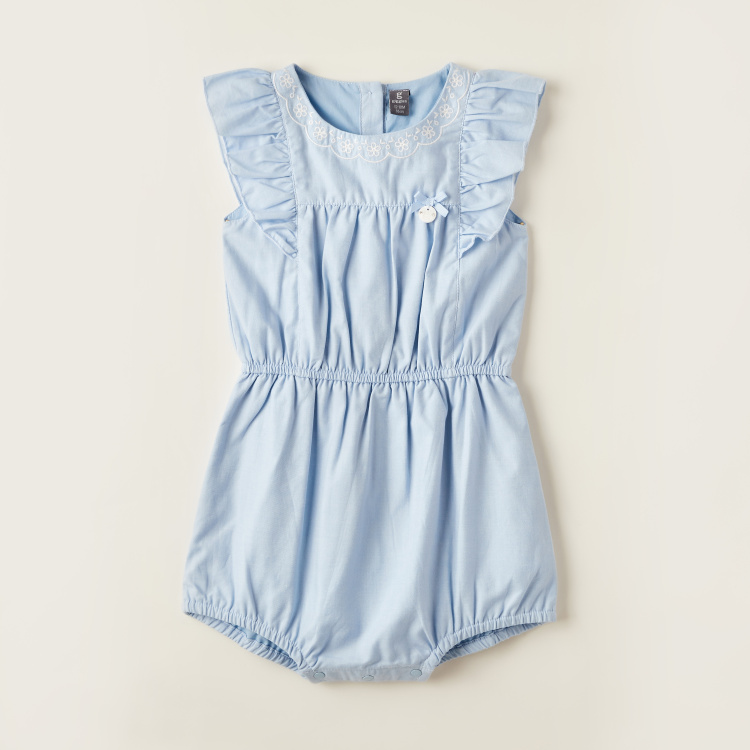 Giggles Embroidered Romper with Ruffle Detail and Button Closure