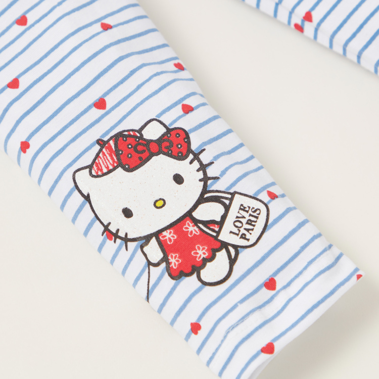 Hello Kitty Print Leggings with Elasticised Waistband - Set of 2