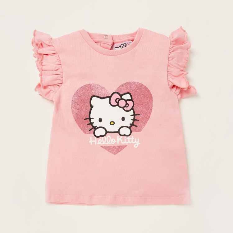 Sanrio Hello Kitty Print T-shirt and Shorts Set