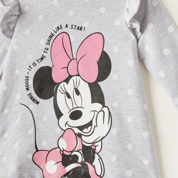 Disney Minnie Mouse Print Dress with Long Sleeves