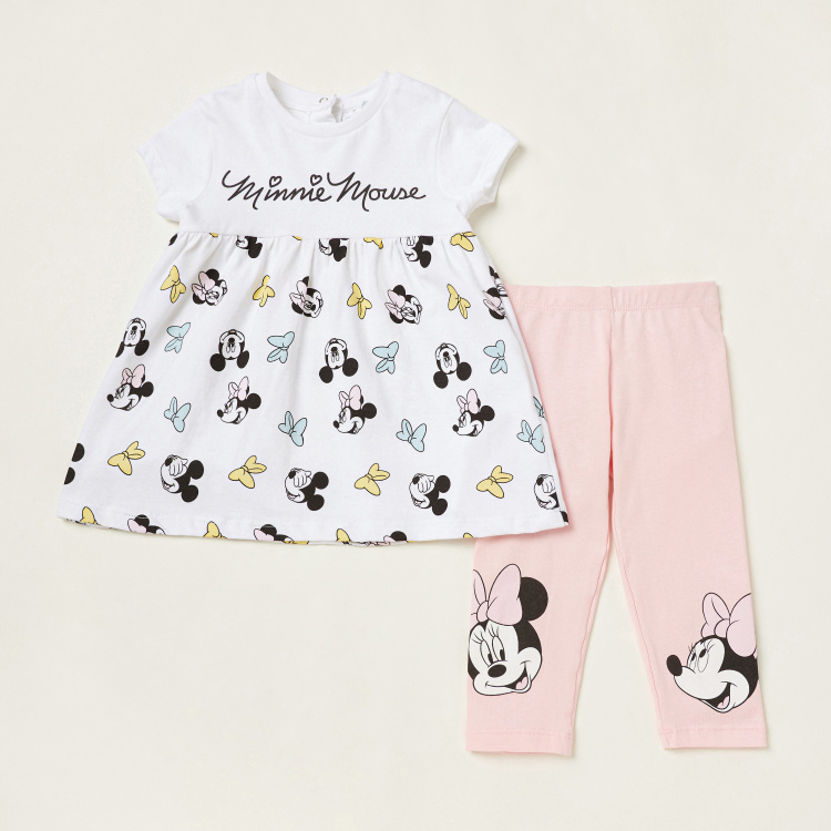 Minnie Mouse Print Tunic and Leggings Set