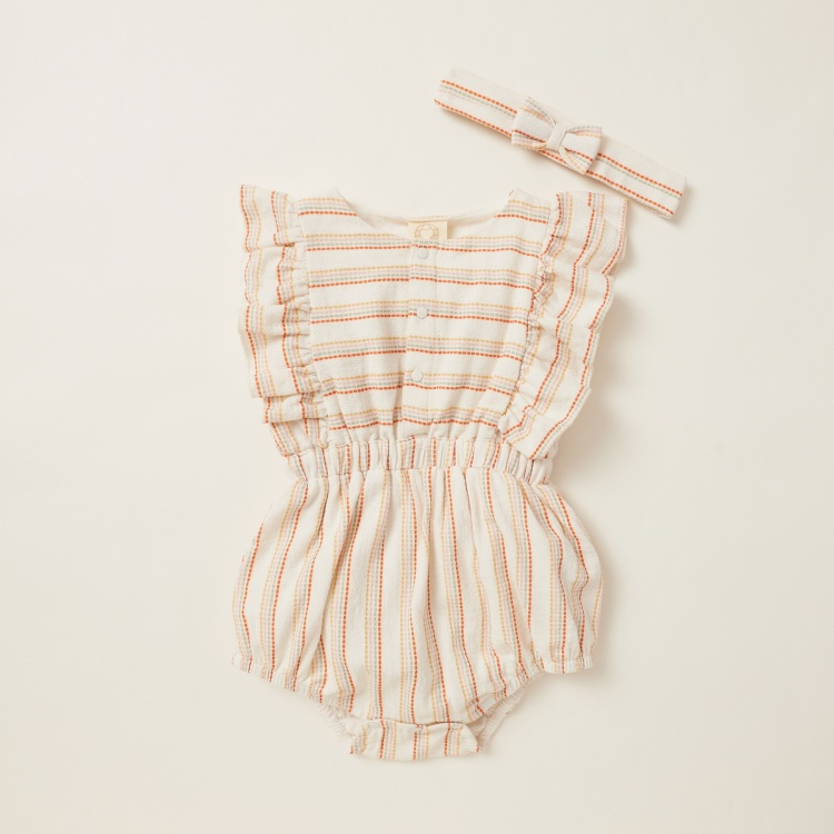 Striped Sleeveless Romper with Bow Detail Headband