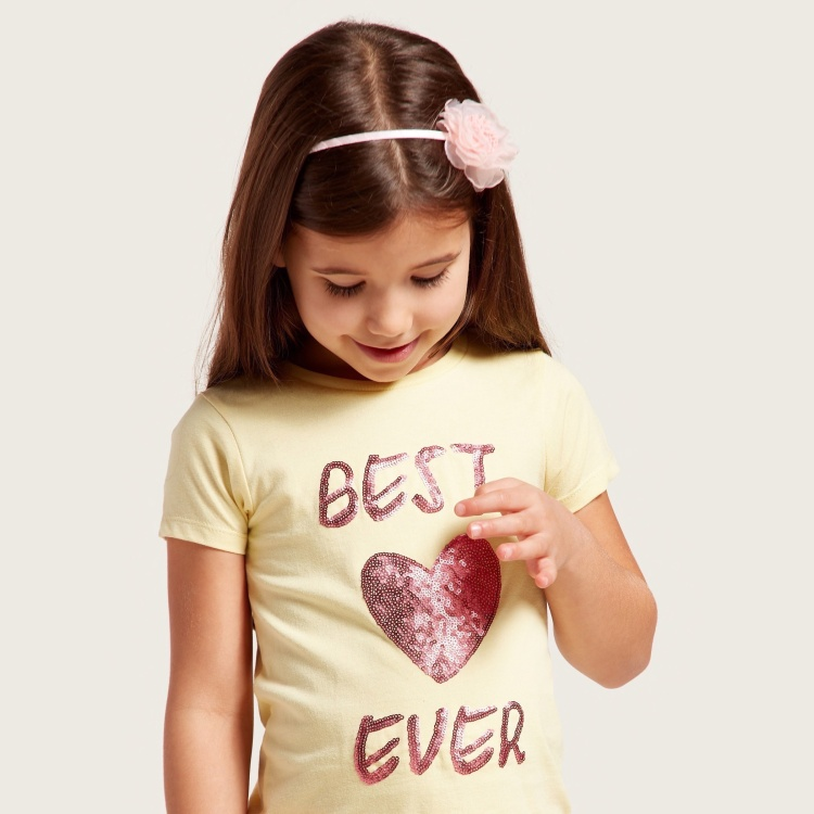 Juniors Embellished Round Neck T-shirt with Short Sleeves
