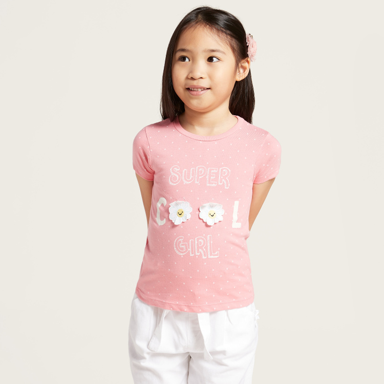 Juniors Graphic Print T-shirt with Round Neck and Flower Detail