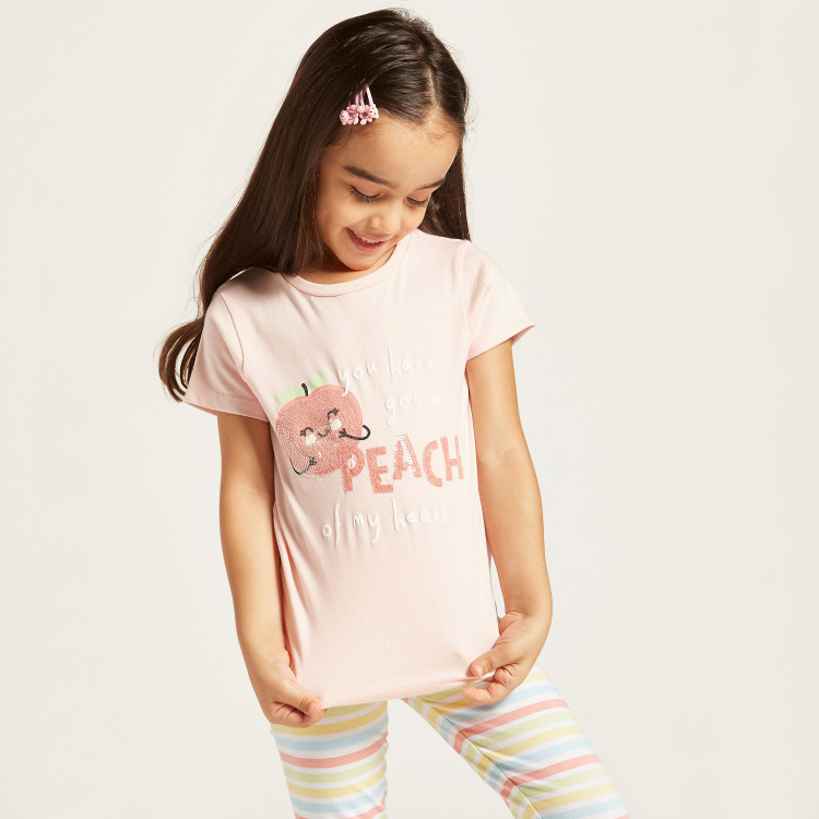 Juniors Sequin Detail T-shirt with Round Neck and Short Sleeves