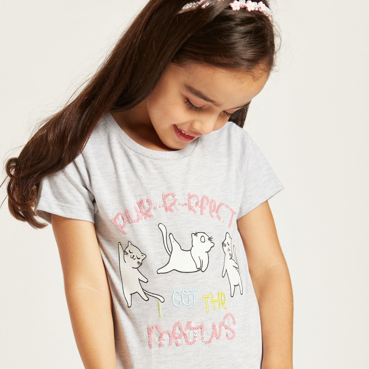 Juniors Cats Embellished T-shirt with Round Neck and Short Sleeves