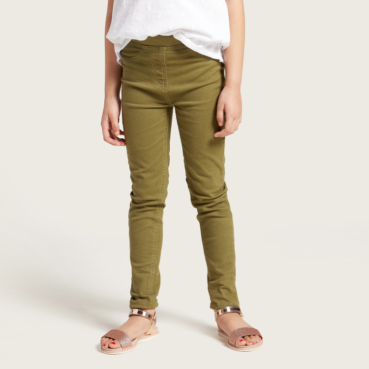 Juniors Solid Jeggings with Pockets and Elasticised Waistband