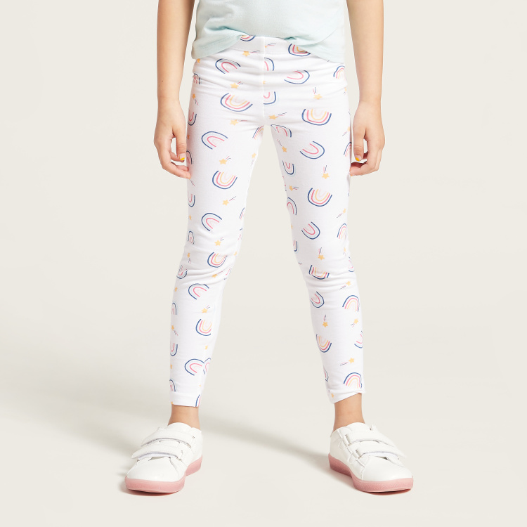 Juniors Printed Leggings with Elasticised Waistband - Set of 2