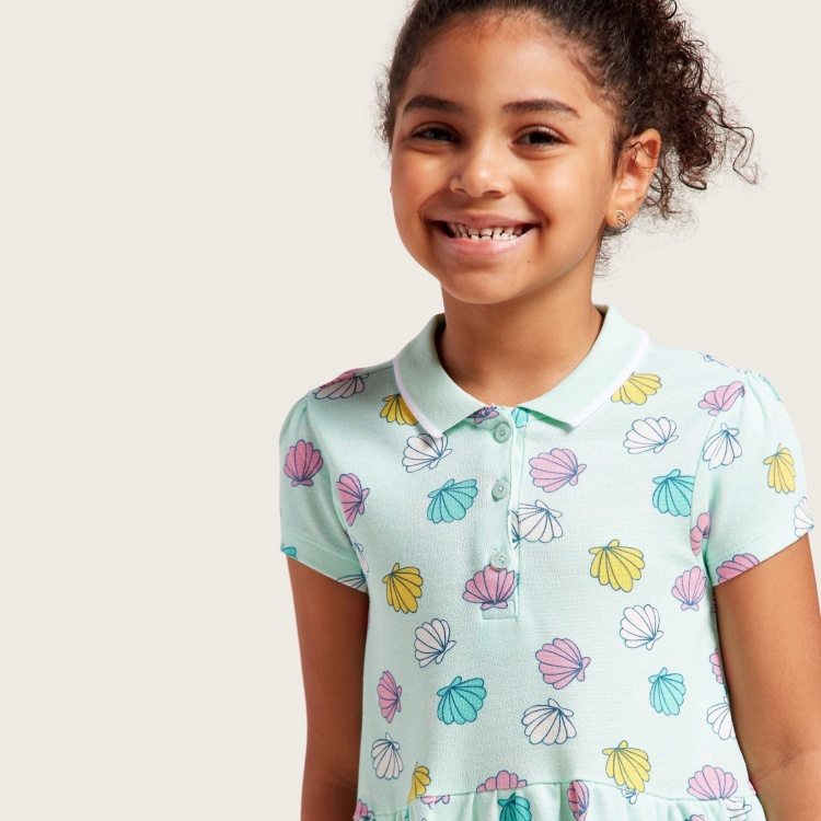 Juniors Sea Shell Print Polo Dress with Short Sleeves