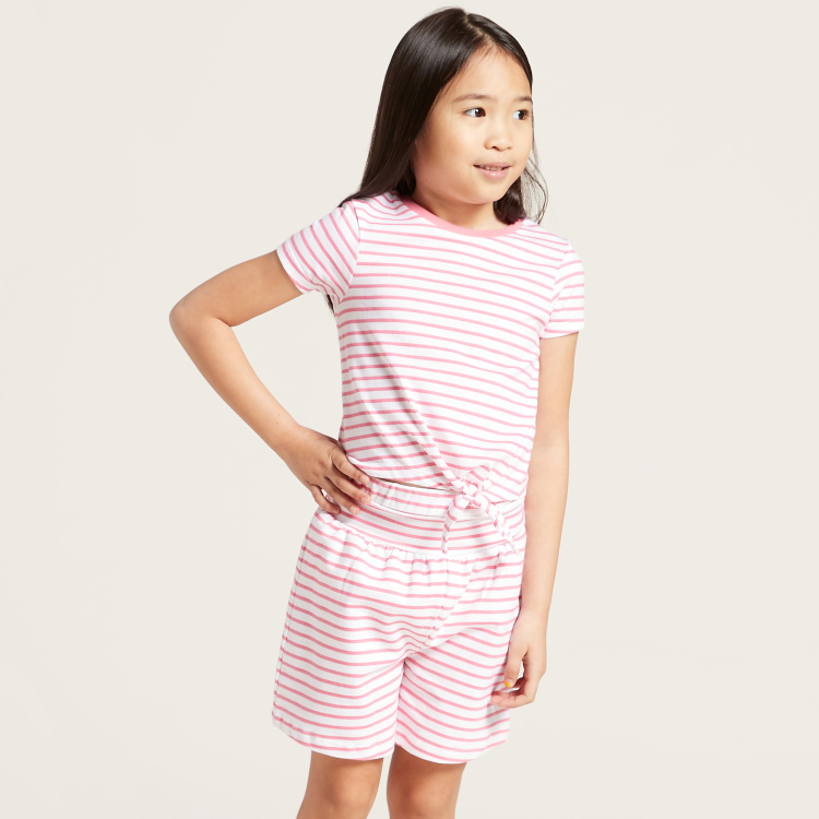 Juniors Printed 3-Piece Round Neck T-shirt and Shorts Set