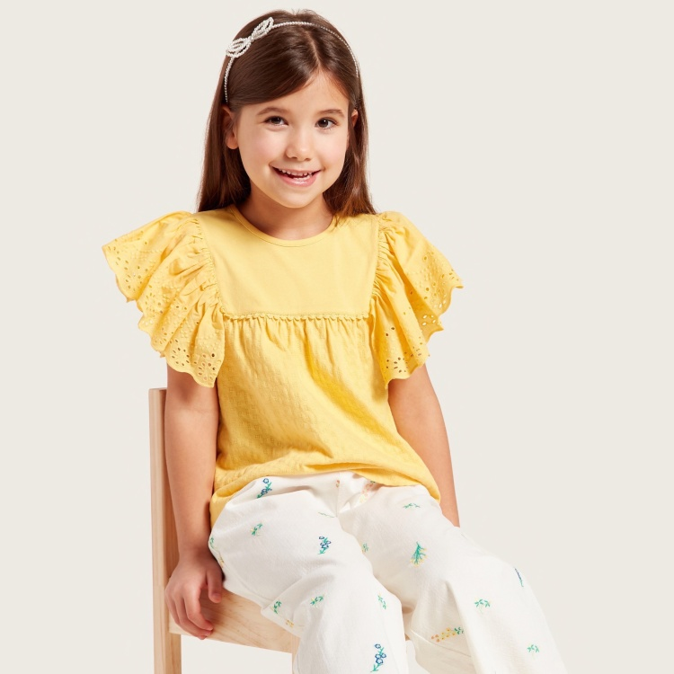 Juniors Textured Top with Round Neck and Schiffli Frill Sleeves
