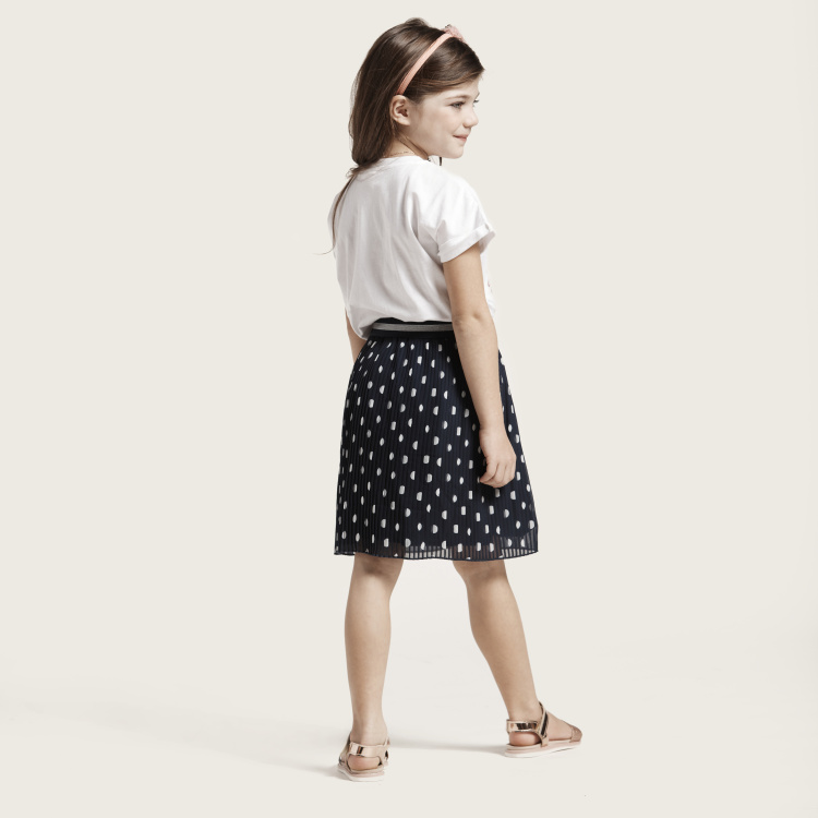 Juniors Printed Pleated Skirt with Elasticised Waistband