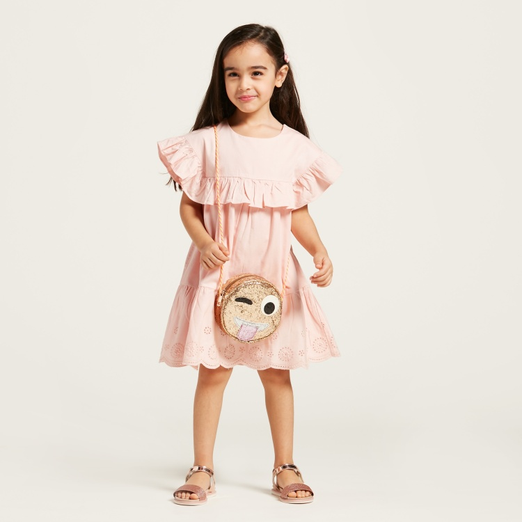 Juniors Solid Dress with Schiffli and Ruffle Detail