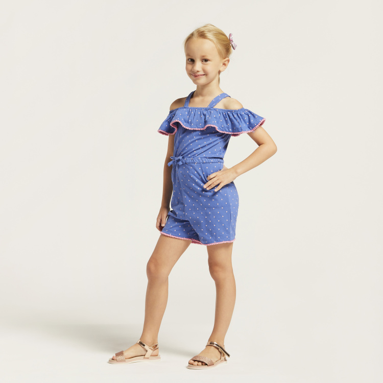 Juniors Strappy Spot Print Playsuit with Pockets