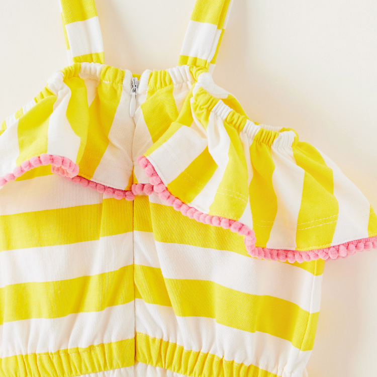 Juniors Striped Playsuit with Ruffles and Bow Accent
