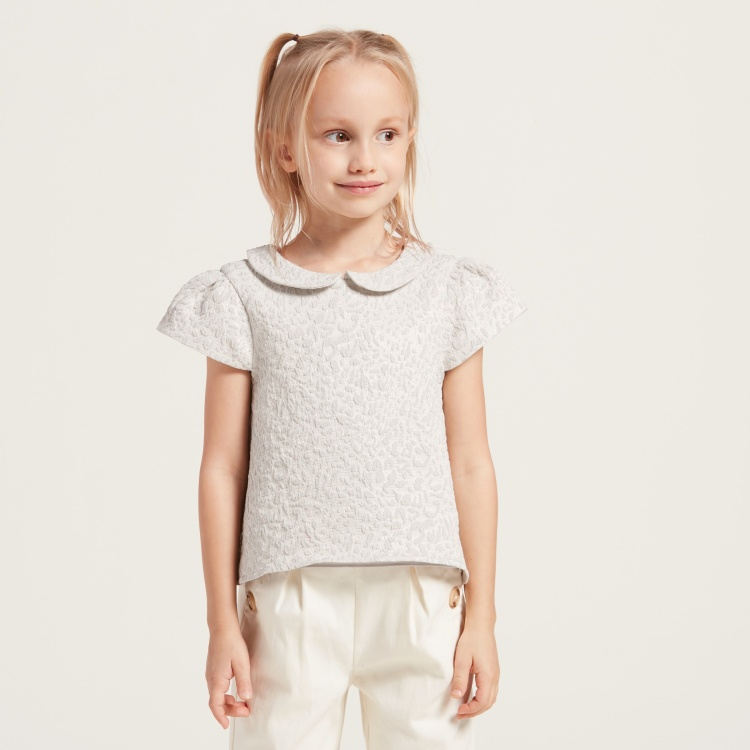 Juniors Jacquard Textured Blouse with Peter Pan Collar