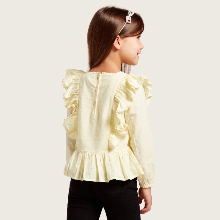 Schiffli Embroidered Top with Round Neck and Long Sleeves