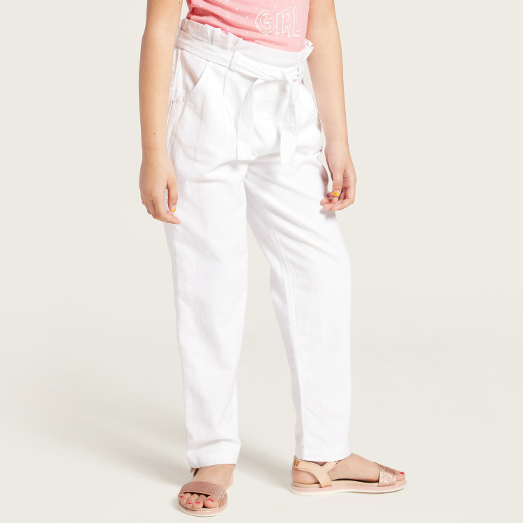 Solid Pants with Pocket Detail and Paperbag Waist