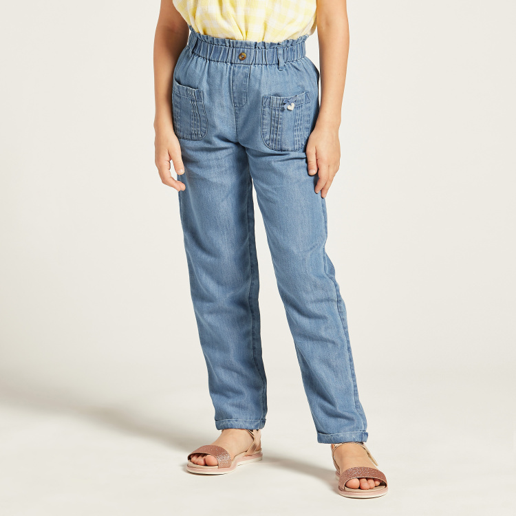 Chambray Pants with Patch Pockets and Elasticated Waistband