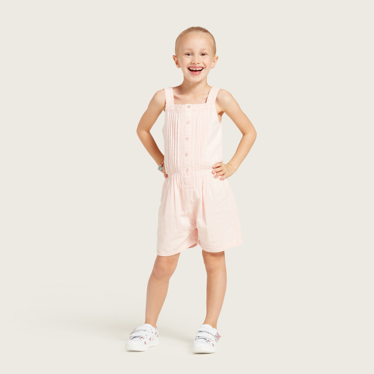 Solid Sleeveless Romper with Square Neck