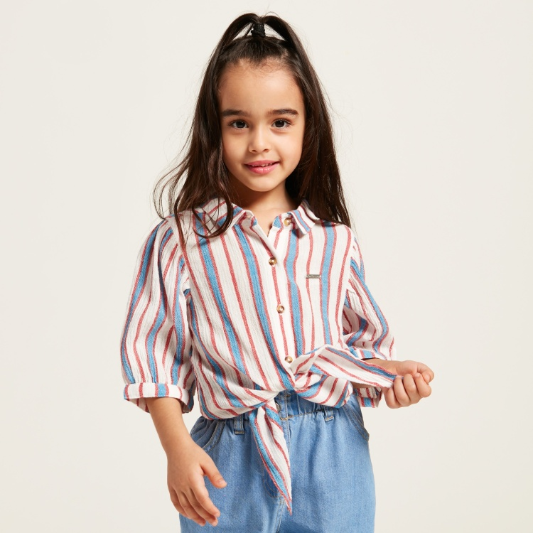 Lee Cooper Striped Top with 3/4 Sleeves and Tie-Ups