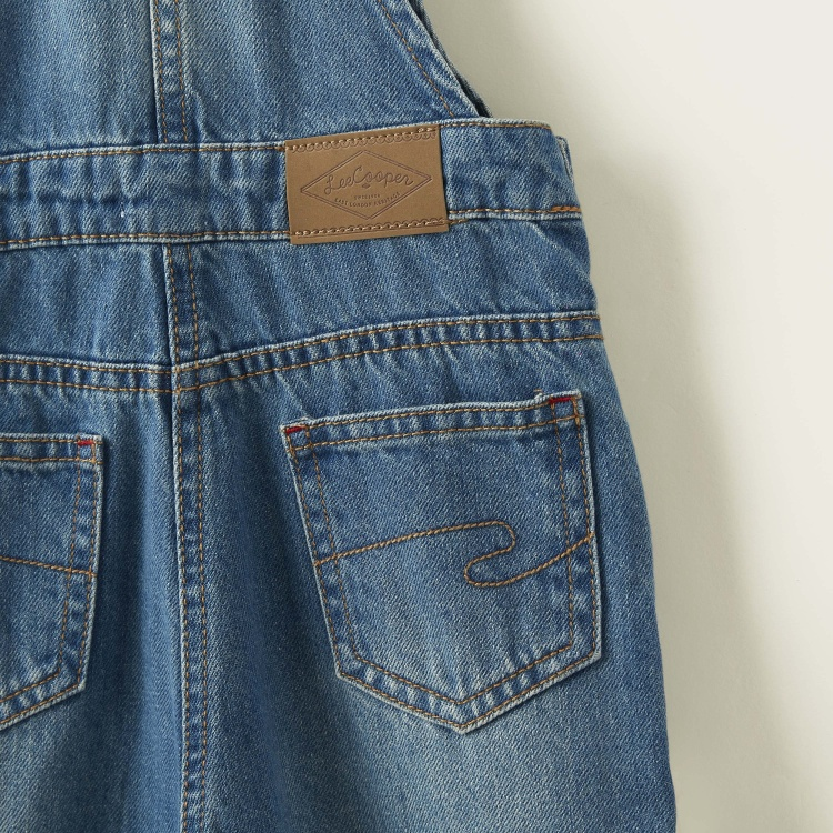 Lee Cooper Textured Denim Dungarees with Adjustable Strap and Pockets