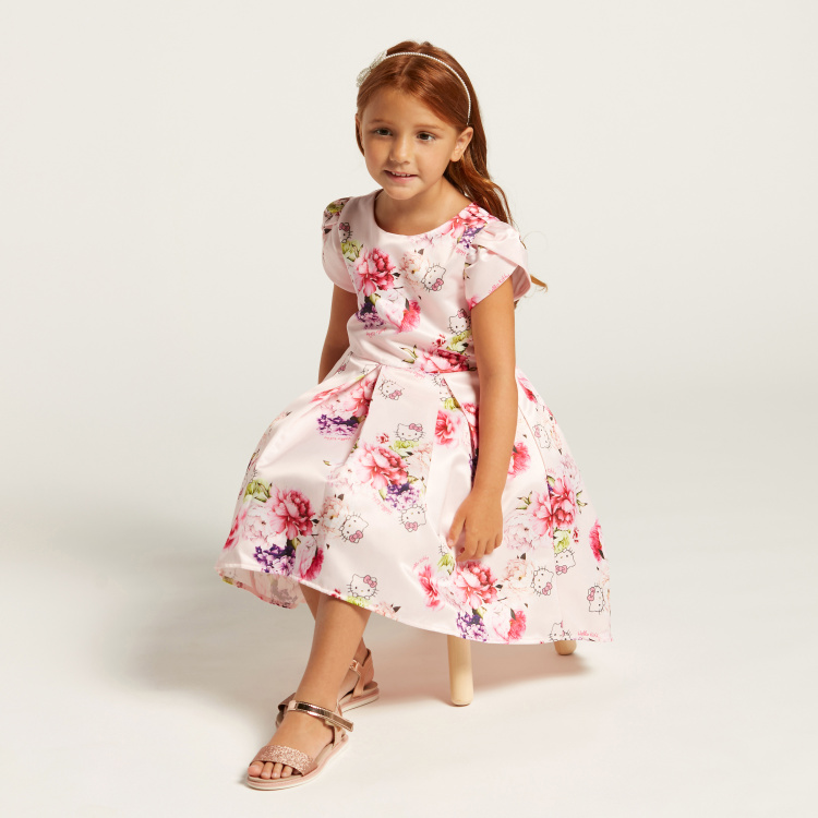 Hello Kitty Print Dress with Overlap Short Sleeves
