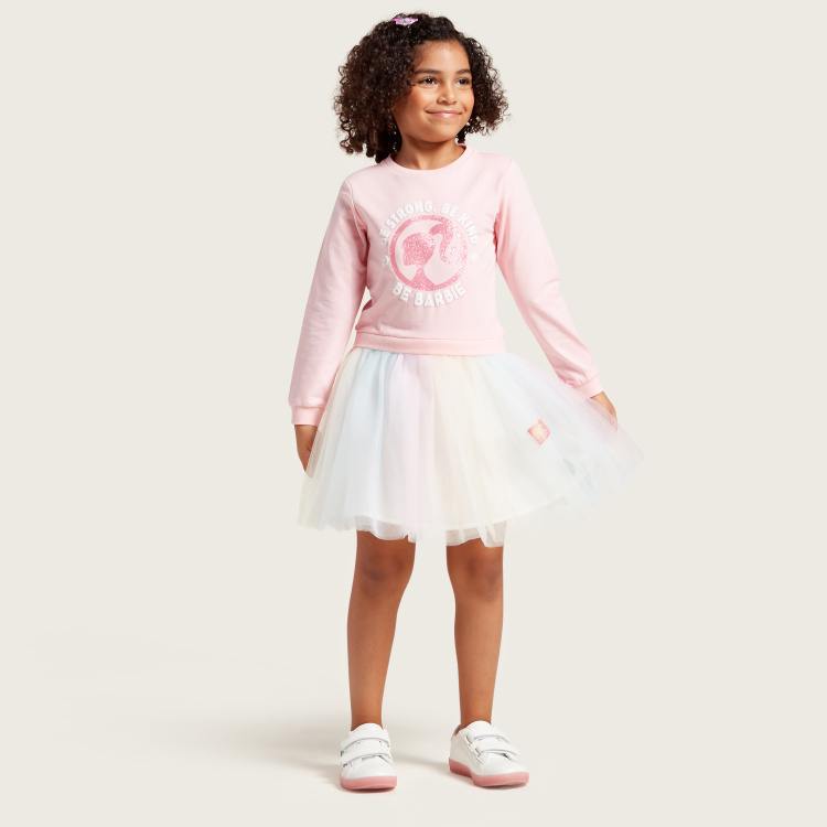 Barbie Sweat Dress with Round Neck and Long Sleeves